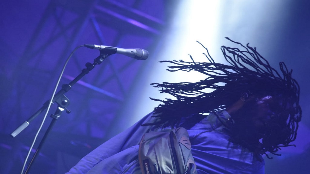 Chronixx flashes his dreadlocks on stage during his performance at the Long Walk to Freedom concert, (PHOTO: Marlon Reid)