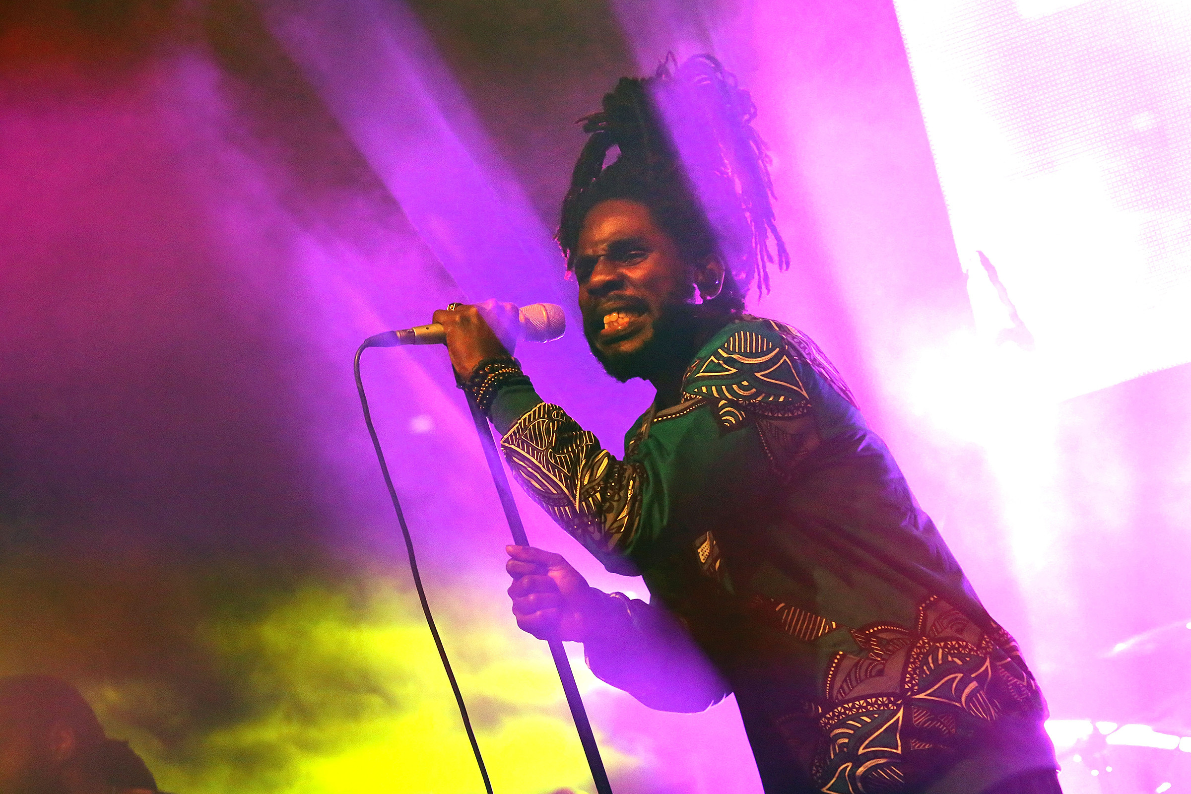 TORONTO, ON - AUGUST 17:  Chronixx and Zincfence Redemption Band perform at Nathan Phillips Square on August 17, 2018 in Toronto, Canada.  (Photo by Isaiah Trickey/FilmMagic)