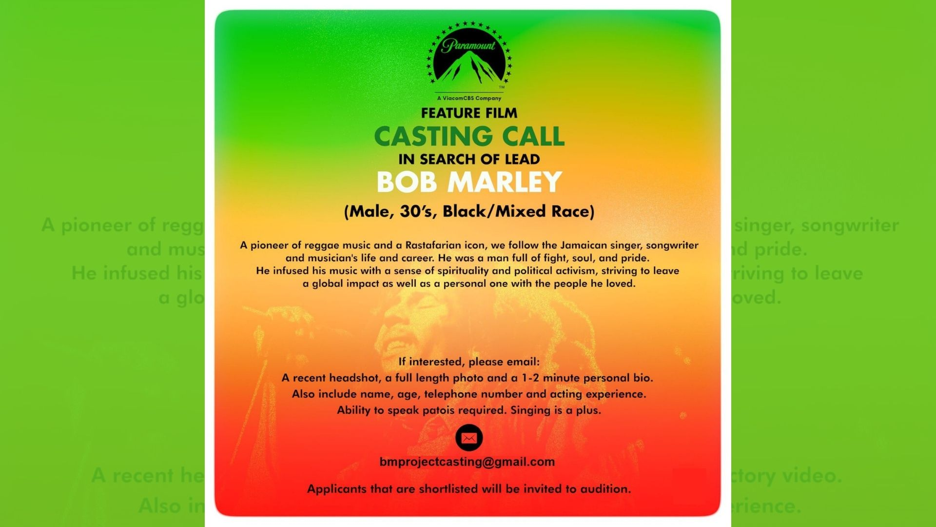 J'can talent agency scouts 'Bob Marley' for Paramount Pictures film   Loop  Jamaica