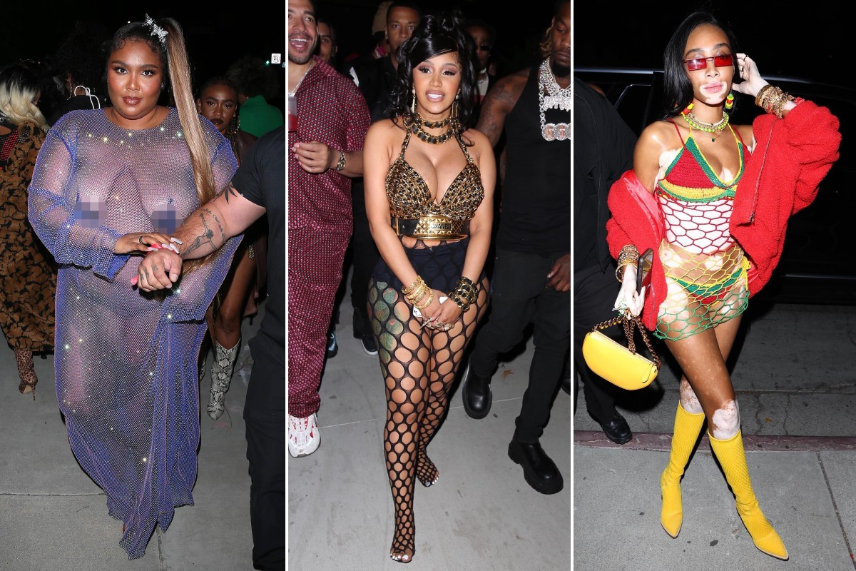 At a dancehall-themed birthday party, Cardi B wears a chain bra and  fishnets. - Techno Trenz